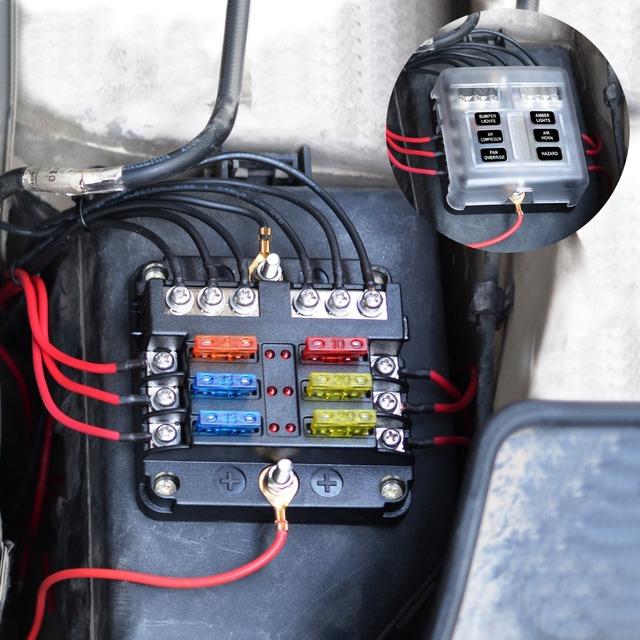 12V 32V Plastic Cover Fuse Box Holder M5 Stud With LED Indicator Light 6 Ways 12 Ways Blade for Auto Car Boat Marine Trike