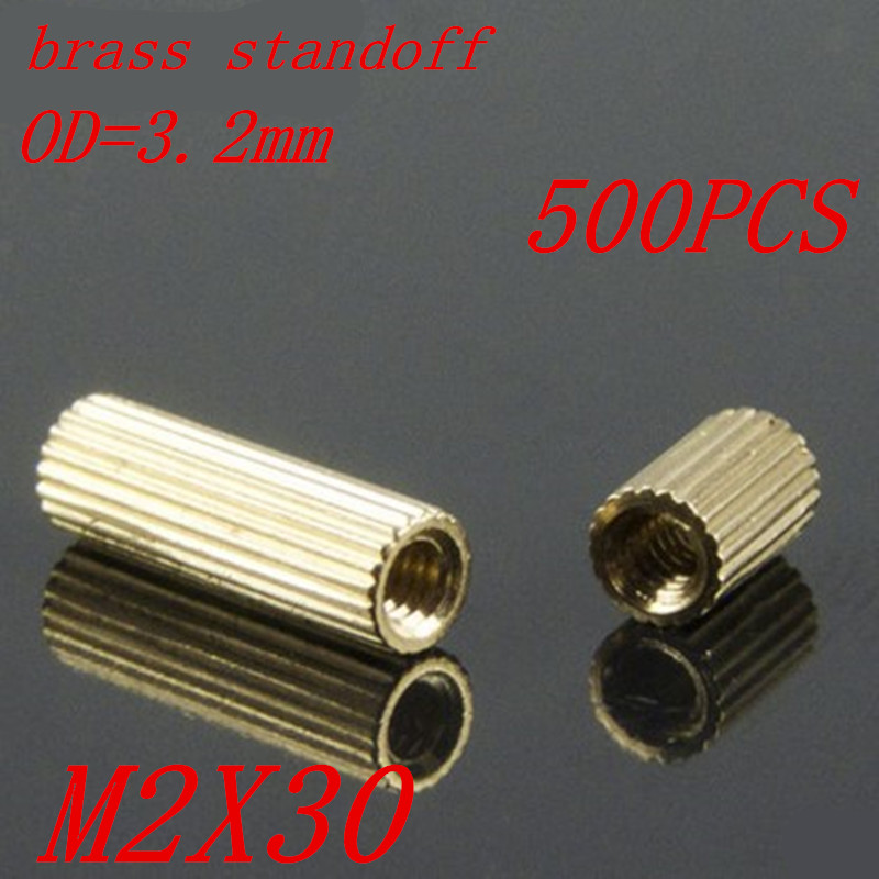 500pcs <font><b>M2</b></font> x 30 <font><b>M2</b></font>*<font><b>30mm</b></font> brass standoff round spacer female to female thread image