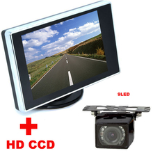 2 в 1 система Помощи При Парковке Авто 9LED Автомобиль ПЗС Заднего посмотреть Камера Заднего Вида С 3.5 дюймов ЖК-Монитор Автомобиля Видео резервного копирования камера