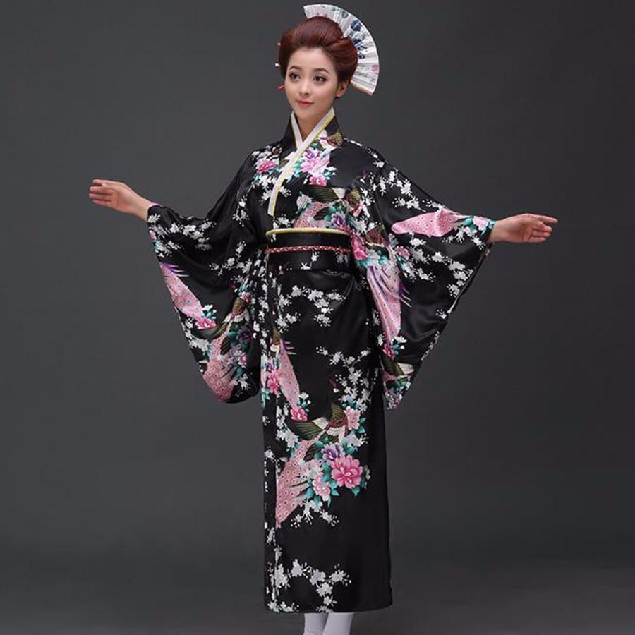 Black Peafowl Japanese Kimono Women's Polyester Satin Kimono Yukata Evening Dress Haori Kimono With Obi One Size