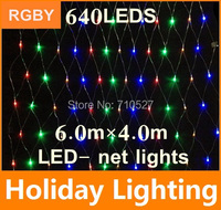 New 6m*4m led net string light Garden Plaza outdoor decoration 110V 220V 640leds christmas Holiday Decoration Lighting