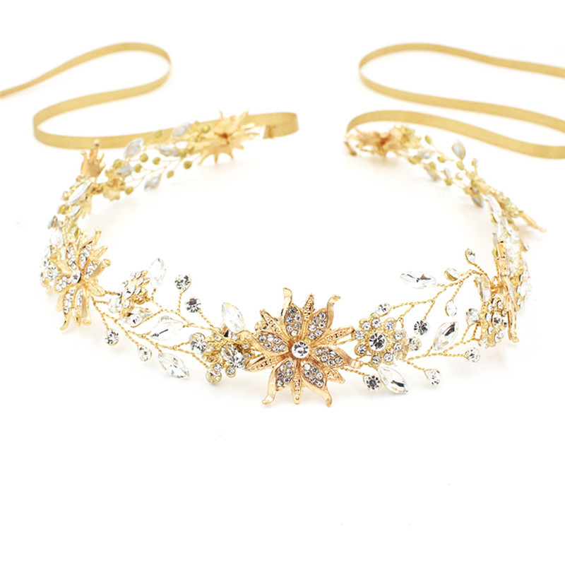 Jonnafe Gold Silver Floral Wedding Tiara Headband Rhinestone Hand wired Bridal Hair Crown Accessories Women Prom Headpiece