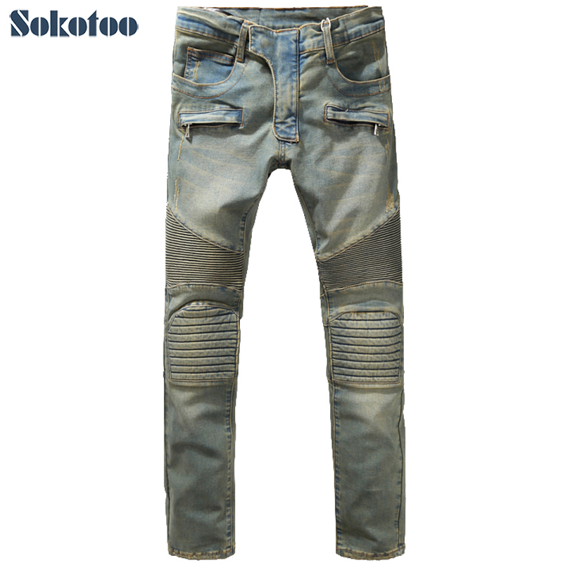 Sokotoo Men's fashion slim vintage biker jeans Casual thick heavyweight stretch denim cargo pants Long trousers sales zooler brand genuine leather bag shoulder bags handbag luxury top women bag trapeze 2018 new bolsa feminina b115