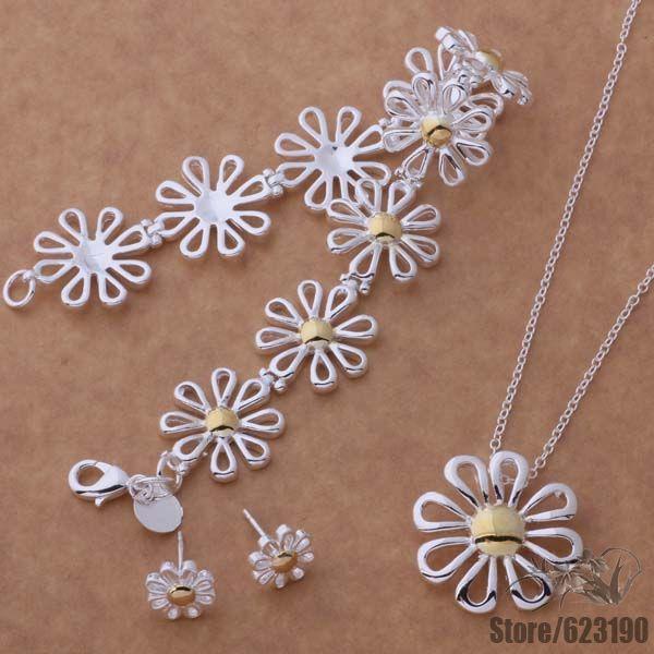 【AS124 925-стерлингового серебра-комплект ювелирных ...