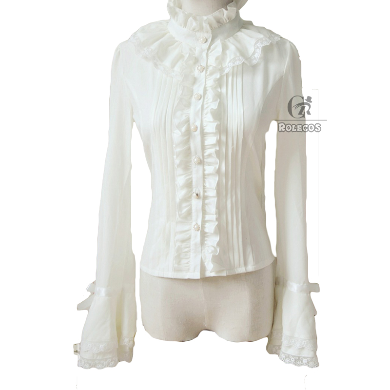 58b91f3a733 ROLECOS Brand Women Lolita Blouse Stand Collar Color Black White Chiffon  Vintage Victorian Blouse Elegant Sweet Slim Fit Shirt-in Blouses & Shirts  from ...