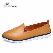 Hosteven Women Shoes Genuine Leather Flats Loafers Shoes Female Casual Leather Black Yellow Brown White Spring Summer Solid Shoe 2018 new women flats 3d flower straw fisherman shoes fashion casual female high quality shoes spring summer black white 35 40