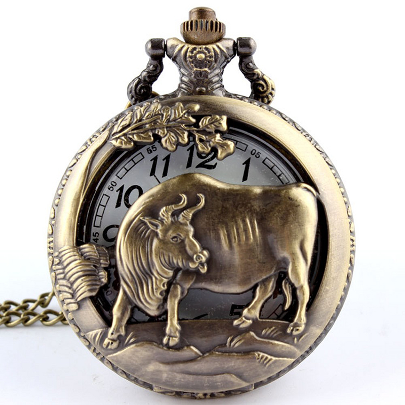 Retro Bronze Chinese Zodiac Cow Hollow Carving Quartz Pocket Watch Necklace Pendant Chain Unique Watch Gift For Men Women