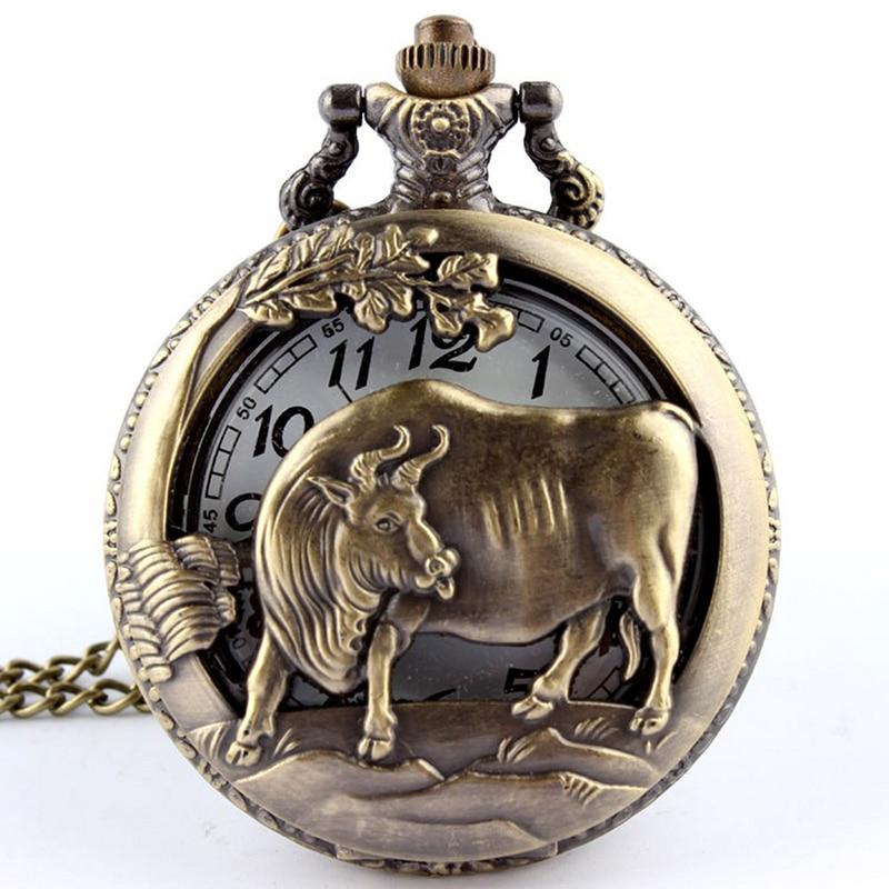 Bronce retro zodiaco chino vaca hueco talla cuarzo reloj de bolsillo - Relojes de bolsillo