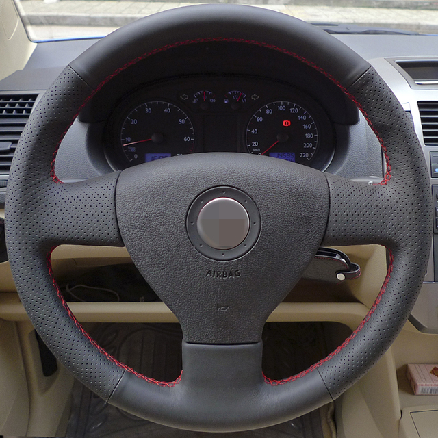 Black Artificial Leather DIY Hand-stitched Steering Wheel Cover for for Volkswagen Old VW Golf Polo Sagitar Lavida 2010 Polo