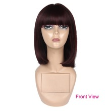 Smabraid synthetic none lace bob Wigs For Women 12 Inch Short Straight Womens BOB