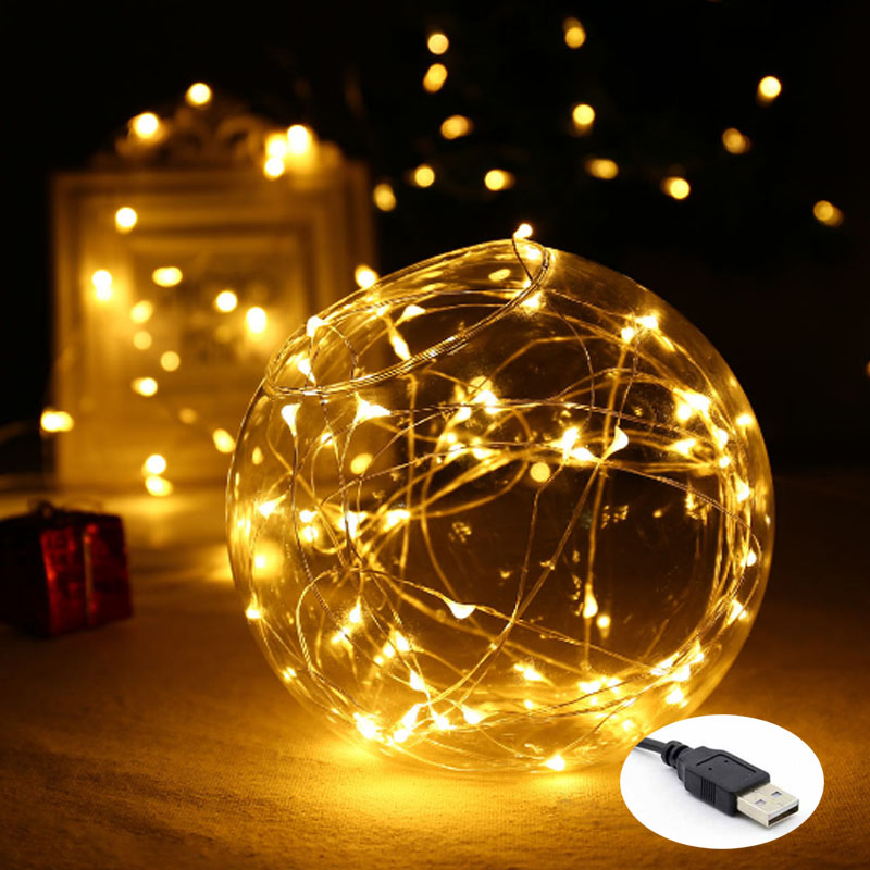 33FT 10M 100LED 5M 50LED 5V USB LED String Copper Copper Wire Fairy String Lights Indoor Outdoor christmas wedding decoration