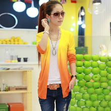 Spring New Gradient color Korean Lady knitwear fashion Women clothing long sleeve thin Cardigan sweater knitted outerwear female