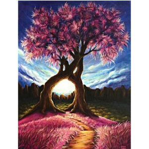 5D DIY Diamond Painting Cross Stitch Landscape Needlework Diamond Embroidery Tree Home Decorative Picture of Rhinestones