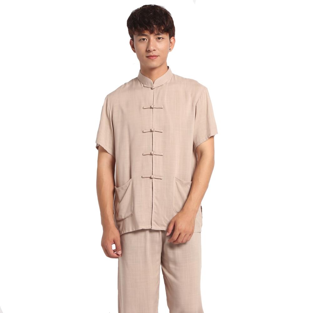 Novelty Chinese Style Men Handmade Button Pajama Set Cotton Linen Pyjamas Suit Shirt&Pants Trousers Sleepwear M L XL XXL