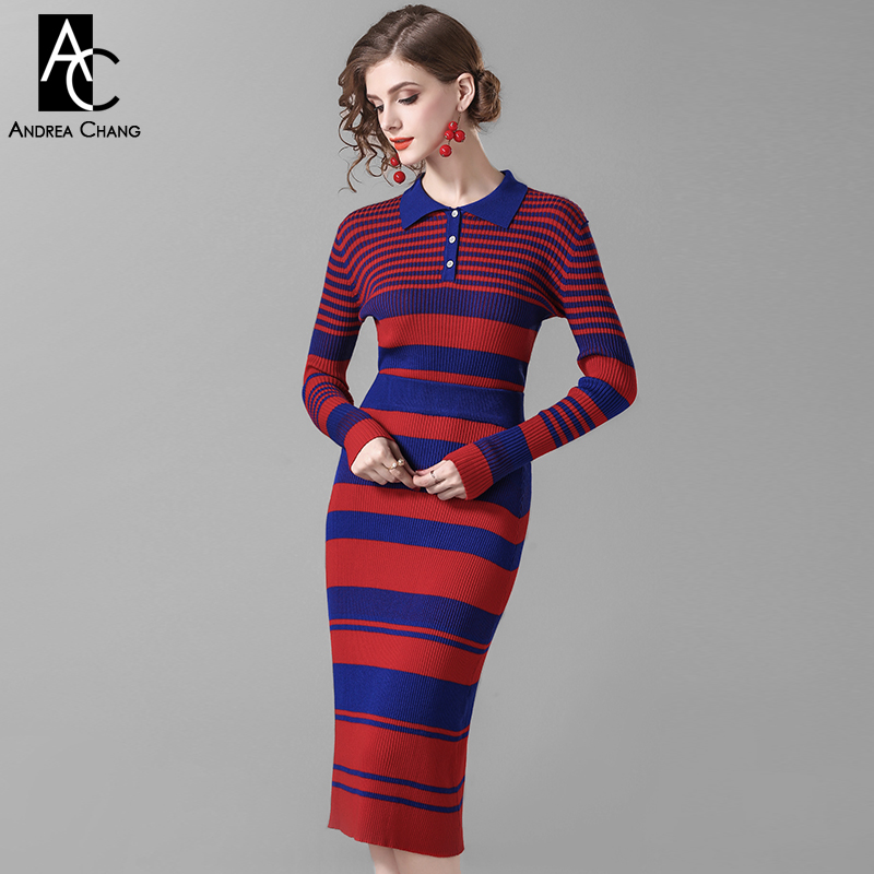 86070eaf5a spring autumn woman clothing set dark blue red strip pattern two-piece  knitted outfit sweater + calf length skirt fashion suit