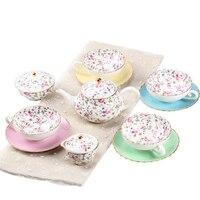 Костяного фарфора английский послеобеденный чайный набор creative чайник цветок чашка японский стиль бытовой свежий кофейная чашка и блюдце