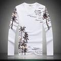Shan bao marca clothing longo ocasional dos homens-manga comprida t-shirt 2017 outono de alta qualidade palma trecho de algodão t-shirt com decote em v magro 15006