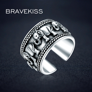 Image 1 - BRAVEKISS 925 Sterling Silver Elephant Ring Animal Antique Open Adjustable Wide Wedding Engraved Ring Jewelry for Woman BLR0309