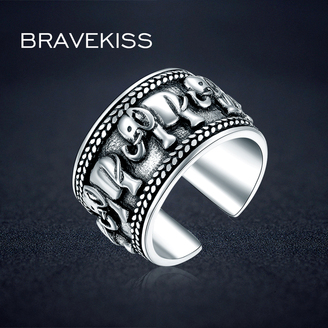 2d8a5d511 BRAVEKISS 925 Sterling Silver Elephant Ring Animal Antique Open Adjustable  Wide Wedding Engraved Ring Jewelry for