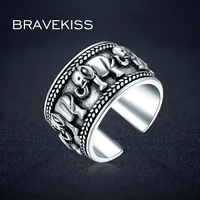 BRAVEKISS 925 Sterling Silver Ring Animal elephant Antique Open Adjustable Wide Big Wedding Engraved Ring Jewelry BLR0309