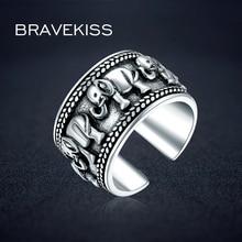 BRAVEKISS 925 סטרלינג כסף פיל בעלי החיים עתיק פתוח מתכוונן רחב חתונה חקוק טבעת תכשיטי לאישה BLR0309