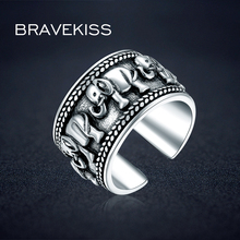 Bravekiss 925 スターリングシルバー象リング動物アンティークオープン調節可能なワイドウェディング刻まリングの宝石 BLR0309