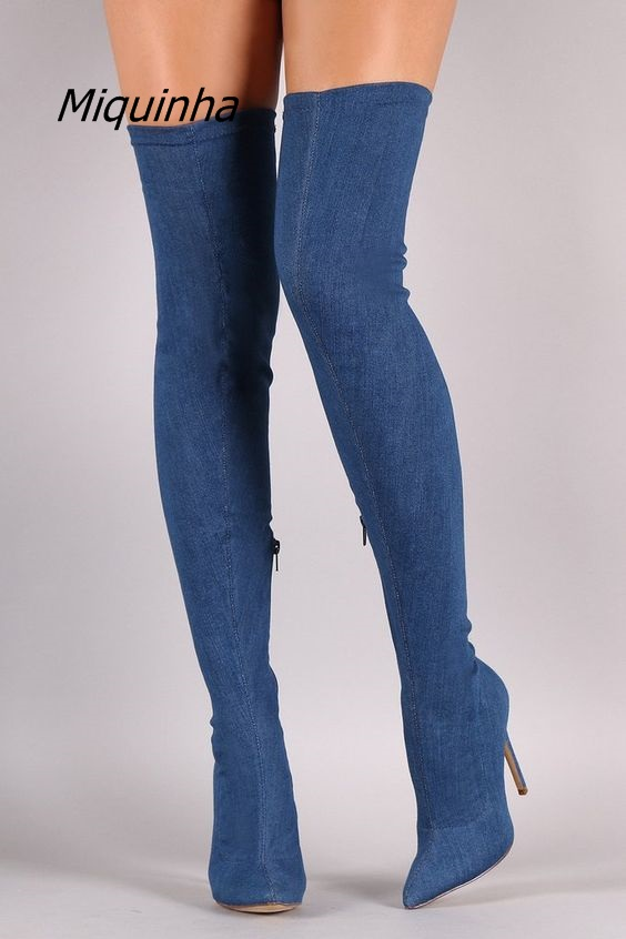 Fancy Blue Jeans Over the Knee High Boots Women Knee Slim Fit Pointy Stiletto Heel Long Boots Fashion Essential Thigh High BootsFancy Blue Jeans Over the Knee High Boots Women Knee Slim Fit Pointy Stiletto Heel Long Boots Fashion Essential Thigh High Boots