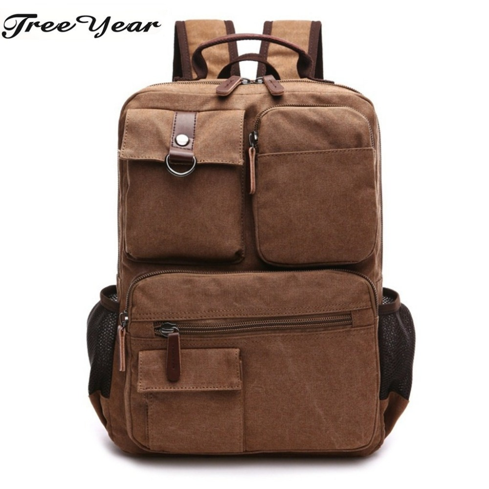 New Men Male Canvas Backpack Vintage Rucksack Casual Army Knapsack Large Capacity Fashion Backpack College Student Backpack