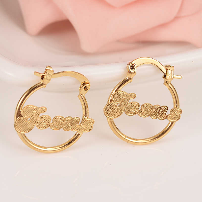 3cbb3b32f Detail Feedback Questions about goldJesus Lovely Kid Baby Little Girls  Jewellery Security Safety Princess Round GoldHuggies hoop earrings for women  ...