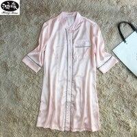 Sexy Female Nightgown New Summer Silk Satin Half Sleeve V Neck Sleeping Dress Elegant Nightdress Night