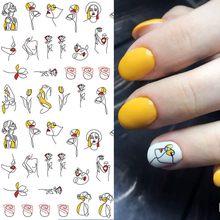 1 sheet Abstract Figure 3D Nail Stickers Black Line Woman Design Sticker Rose Adhesive Art Tattoo Decoration