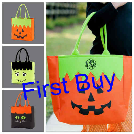 30pcslot free shipping new arrival fashion monogram halloween character tote bag treat or trick