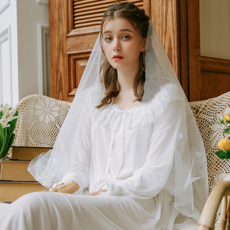 New Spring Women Long Nightdress Lady Lace Loose Nightgowns Sleepshirts Palace Princess Mesh Cotton Soft Home Dress White Pink