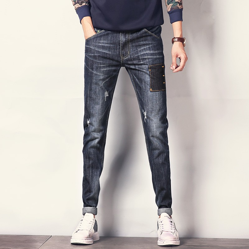 2017 Fashion Brand Ripped Jeans Men Denim Pants Big Size 40 Black Skinny Jeans Male Patch Stretch Korean Slim Pencil Men Jeans 2017 fashion patch jeans men slim skinny stretch jeans ripped denim blue pants new famous brand mens elastic jeans f701