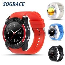 Sograce Relógio Inteligente Apoio V8 SIM/TF Cartão de Conexão Relogio Inteligente para Samsung Xiaomi Android Telefone Chamando Câmera Smartwatch