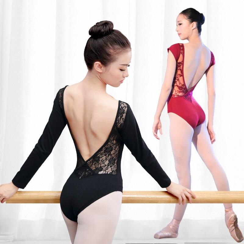 Кружевное хлопковое балетное трико с открытой спинкой, женская одежда для балета, одежда для взрослых, черное гимнастическое трико, боди