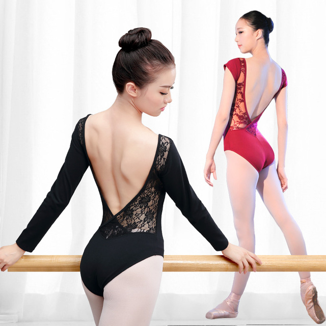 レース綿バレエレオタード女性背中の開いたバレエダンスの摩耗ガール大人のダンスの服黒体操レオタードスーツ