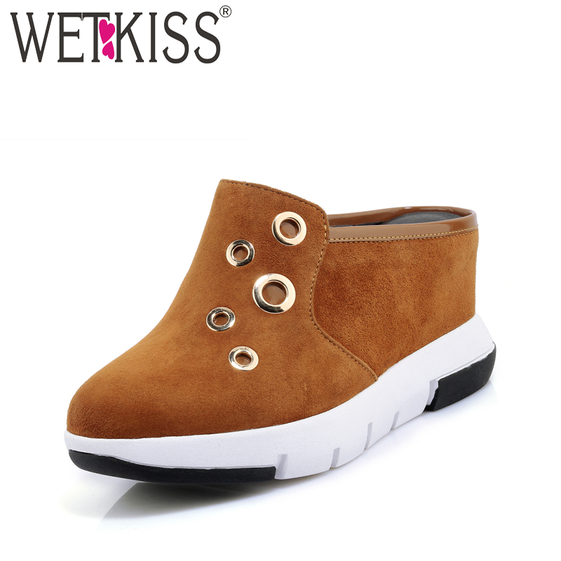 WETKISS High Heels Casual Mules Shoes Elevator Kid Suede Summer Women Pumps Round Toe Wedges Platform Metal Decoration Footwear цена