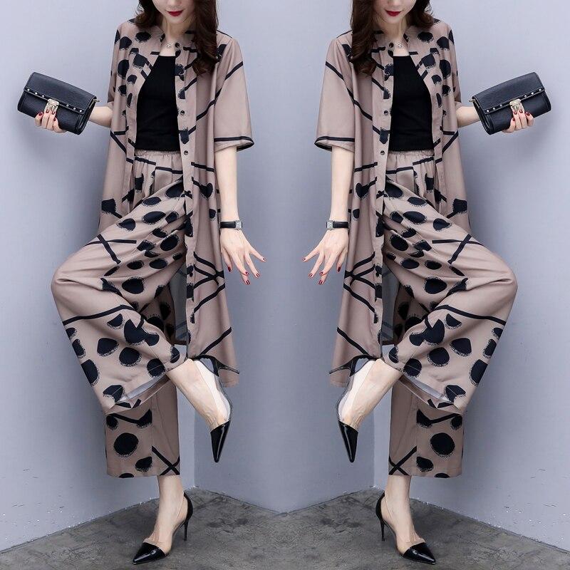 Floral Print Big Size Ensemble Femme Survetement Wide Leg Pants Fashion Two Piece Set Elegant Temperament Women's Summer Suit