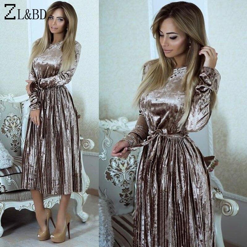 ZL&BD Elegant Dress 2018 Women Spring Long Sleeve O-Neck Velvet Dresses With Belt Shine Long Pleated Party Dress Vestiso ZA047