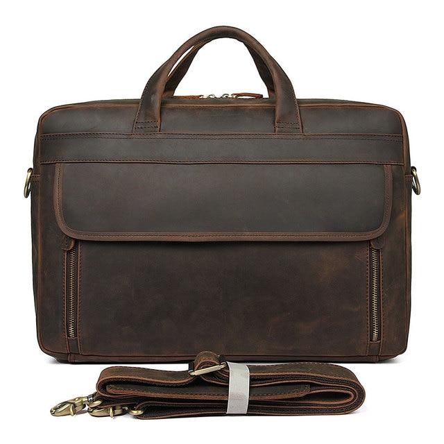 23aec705ebde J.M.D Crazy Horse Leather Briefcases Antique Design Men s Handbag Portfolio  17 inches
