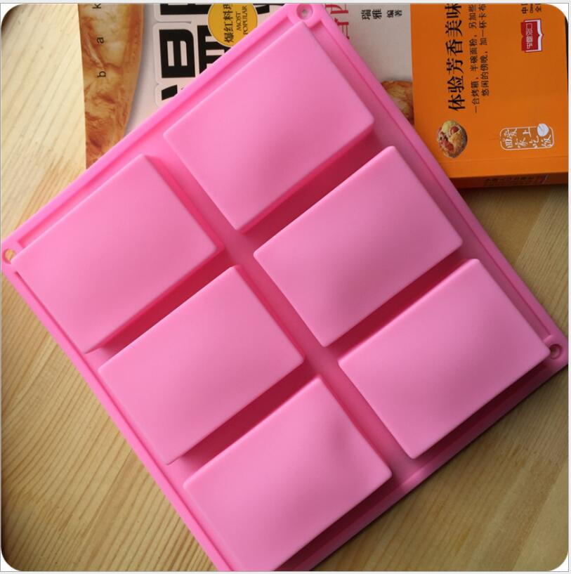 6 Cavities Handmade Rectangle Square Silicone Soap Mold Chocolate Cookies Mould Cake Decorating Fondant Molds 100