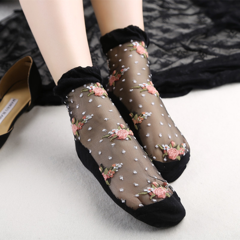 1 Pair Hot sale Ultra Thin   Socks   women girls summer transparent lace Crystal Rose Flower Elastic Short   Socks