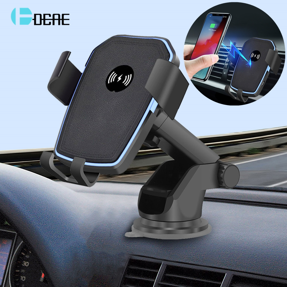 DCAE 10W Qi Wireless Car Charger for iPhone X XR XS 8 Samsung S9 S10 S8 Note 9 8 Fast Wireless Charging Car Phone Holder Stand