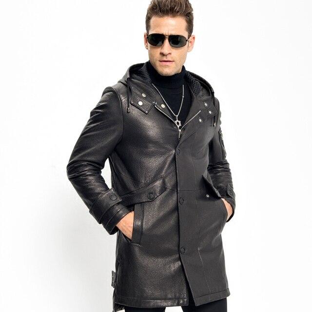 65268a0192ec Black Leather Hooded Down Jacket Smart Casual Men's X-Long Down Coat Luxury  100% Sheepskin Military Style Long Parka