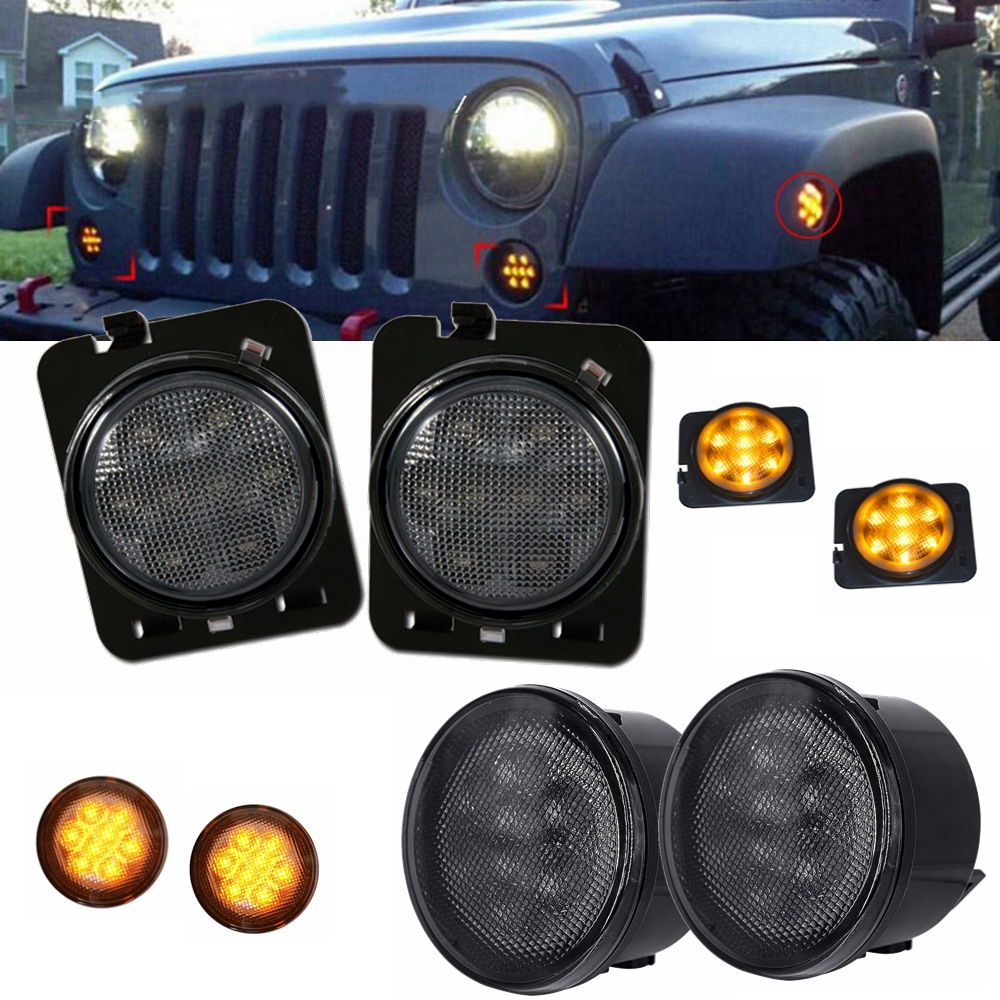 LED Turn Signal & Fender Side Light Combo Smoke Lens for 07-16 Jeep Wrangler