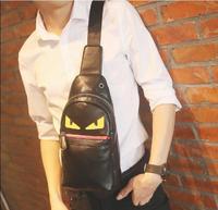 Fashion Little Monster Bag Casual Men Eye PU Leather Shoulder Bags Small Messenger Bag Travel Devil