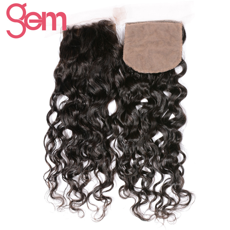 Gem Beauty Brazilian Remy Hair Water Wave Closure Free Part 130% Density Human Hair Weave Silk Base Closure Free Shipping