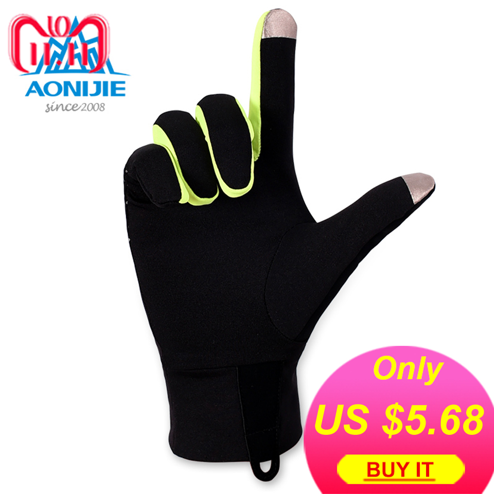 AONIJIE Outdoor Sports Gloves Men Women Warm Windproof Cycling Hiking Climbing Running Ski Full Finger Screen Gloves body building sports cyling half finger gloves for women black red