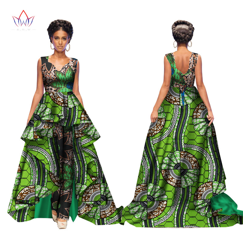 African 2017 Summer Bazin Elegant Jumpsuits for Women Maxi Sleeveless Romper And Long Dashiki Pants Plus Size BRW WY2117 1